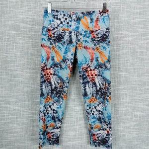 Onzie Yoga Capri Crop Leggings XS Feather Print